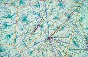 Simulation de grands réseaux de communication, réalisée avec le prototype de simulateur spatial ARC,  développé dans le cadre d'une convention de recherche avec le CNET.Visualisation d'un modèle à trois niveaux hiérarchiques : diagramme de Voronoï sur les niveaux 1 (vert clair) et 2 (orange), connexions entre les niveaux (entre 0 et 1 en vert foncé, entre 1 et 22 en marron), et connexions sur le même niveau 2 (violet).